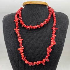 Colar de Pedra Coral Longo - Helena Cristais
