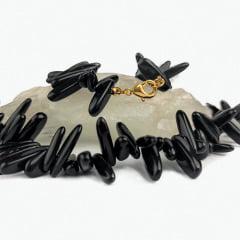 Colar de Pedra Ônix Preto Curto Fileto
