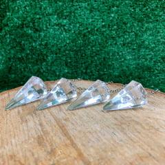 Pêndulo Cristal Quartzo Transparente Prateado 3674