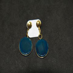 Brinco de Pedra Ágata Azul