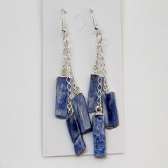 Brinco de Pedra Cianita Azul